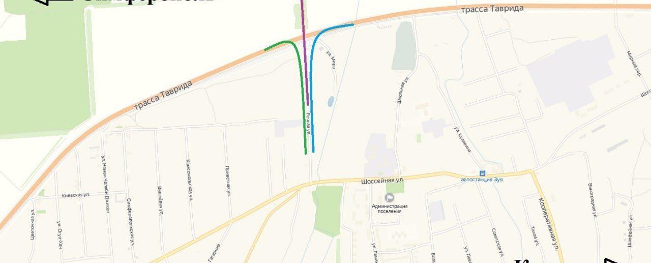 Схема временного движения по трассе таврида из зуи