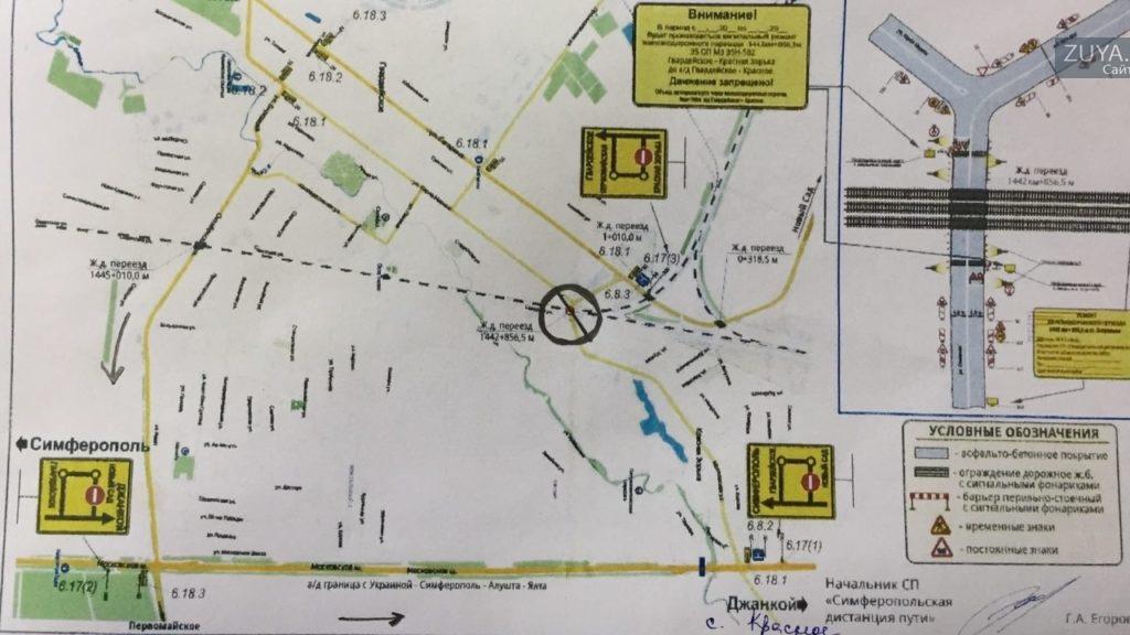 схема перекрытия дороги в Гвардейском под Симферополем