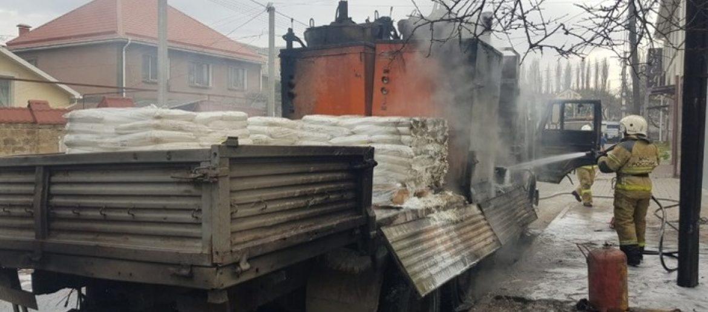 Сгорел грузовой автомобиль Камаз в Крыму